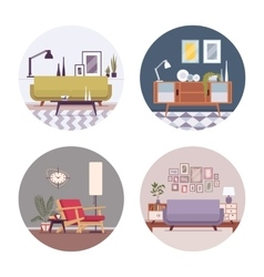 Set of retro interiors in a circle vector