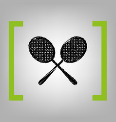 Tennis racquets sign black scribble icon vector