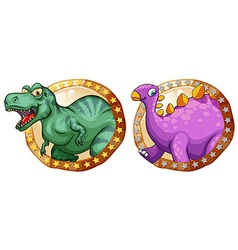 Two dinosaurs on round badges vector image vector image