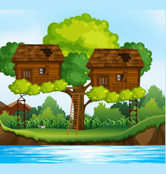 two treehouses on the tree by the river vector image vector image