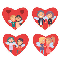 valentines day card with set of big red hearts vector image vector image