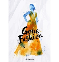 Watercolor fashion poster lettering gone fashion vector image vector image