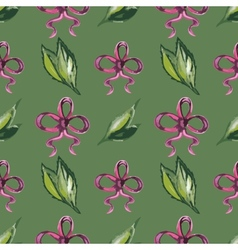 Watercolor seamless pattern with leaves and red vector