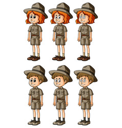Woman and man in safari outfit vector