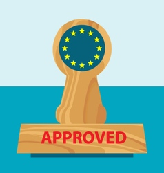 Wooden office rubber stamper with flag of eu vector