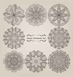 hand drawn mandala set vector image