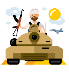 Tankman war in the middle east flat style vector