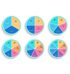pie charts with 3 4 5 6 7 8 steps sections vector image