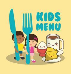 Kids menu nutrition food breakfast vector