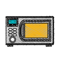Color crayon stripe cartoon microwave oven element vector