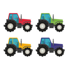 Colorful tractors on white background vector