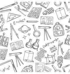 school science sketch seamless pattern vector image