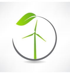 Green ecological windmill icon vector