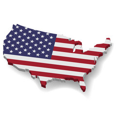 3d united states of america map with flat flag vector