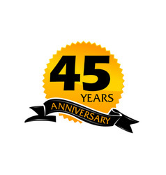 45 years ribbon anniversary vector image