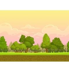 Seamless cartoon park landscape vector image