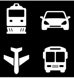 Four white transport icons vector