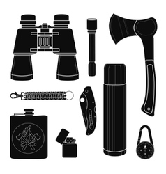 Camping equipment silhouettes set vector