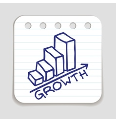 Doodle growth chart icon vector