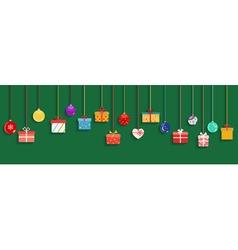 Hanging gift boxes and christmas balls vector image