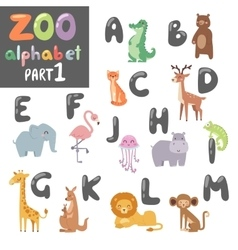 Cute zoo english alphabet with cartoon vector