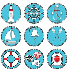 Nautical elements type 1 in knottet circle vector