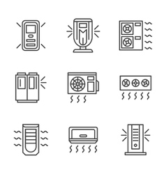 Air cleaning equipment black line icons set vector image