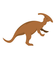 Brown parazavrolofus dinosaur icon isolated vector