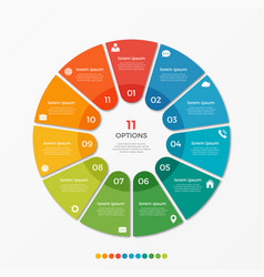 Circle chart infographic template with 11 options vector
