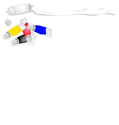 Color tube of primary colors with white and black vector