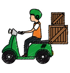 Courier in motorcycle delivery service vector