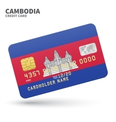 Credit card with cambodia flag background for bank vector