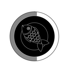 Dish with fish sea food menu vector