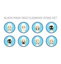 Face cleaning and care actions set vector