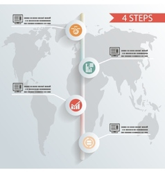 Four steps infographic background whith icons vector