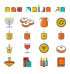 Hanukkah icons set jewish holiday hanukkah symbol vector