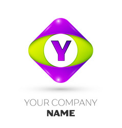 Letter y logo symbol in colorful rhombus vector