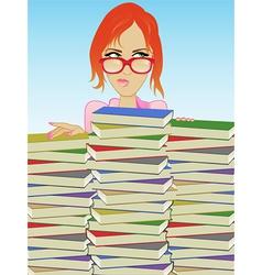 Librarian books vector