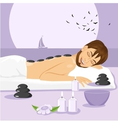 Man having stone massage in a spa vector