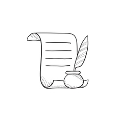 Paper scroll with feather pen sketch icon vector image