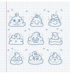poop emoji face icons crap signs cartoon shit vector image