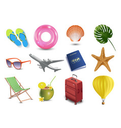 Realistic summer holidays seaside beach icons set vector