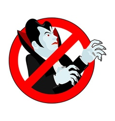 Stop vampire it is forbidden to drink blood vector
