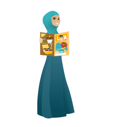 Successful muslim business woman reading magazine vector