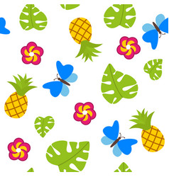 Tropical seamless pattern on white background with vector
