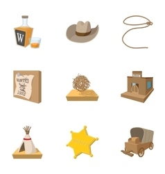 Wild west of usa icons set cartoon style vector