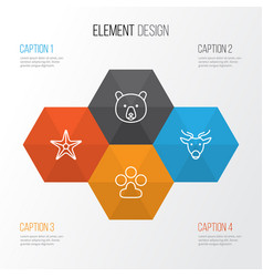 Zoology icons set collection of grizzly moose vector