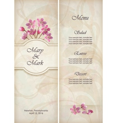Floral decorative wedding menu template design vector