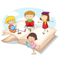 Many children reading books vector image