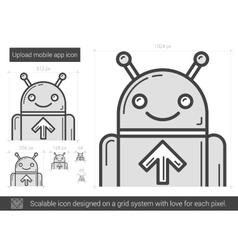 Upload mobile app line icon vector